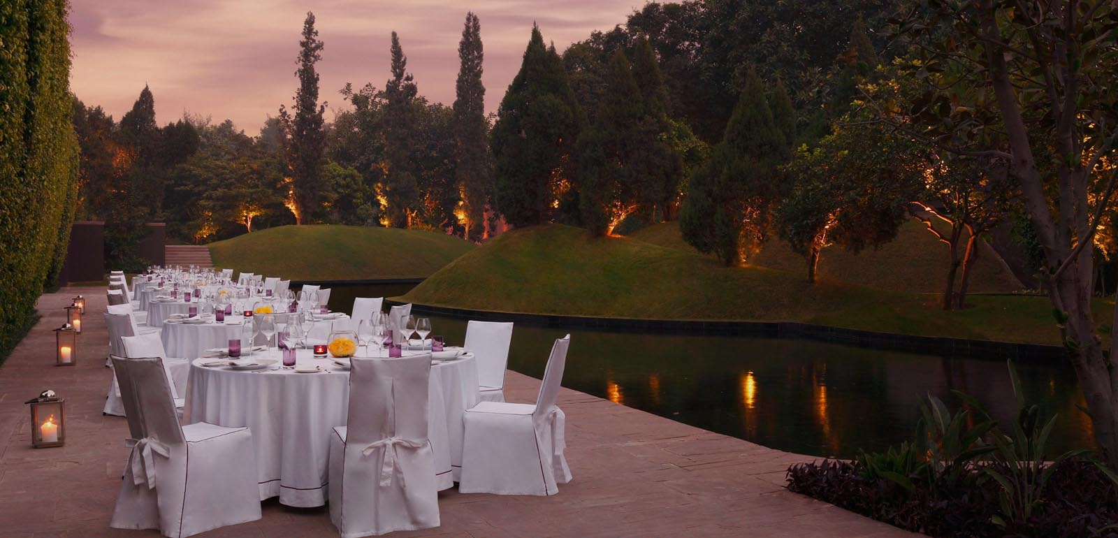 Lavish Garden Dining view at The Roseate New Delhi