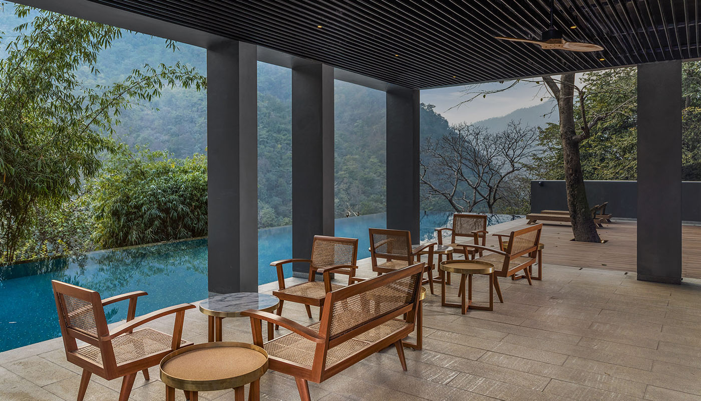 Dine by the poolside at The Roseate Ganges